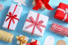 Flat lay composition with gift boxes. On color background, top view Royalty Free Stock Photography