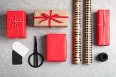 Flat lay composition with gift boxes royalty free stock image