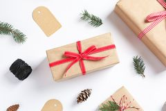 Flat lay composition with gift boxes. On white background Royalty Free Stock Image