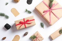 Flat lay composition with gift boxes. On white background Royalty Free Stock Photos