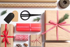 Flat lay composition with gift boxes. On white background Stock Photography