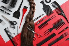 Flat lay composition with hair salon tools stock photo