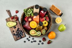 Flat lay composition with healthy detox smoothies Stock Image