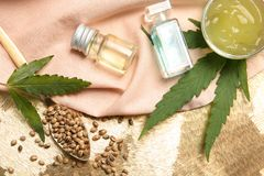 Flat lay composition with hemp lotion stock photography