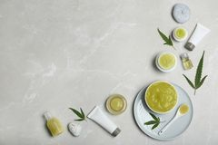Flat lay composition with hemp lotion stock image