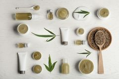 Flat lay composition with hemp lotion stock images