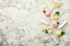 Flat lay composition with hygienic lipsticks and balms stock photo