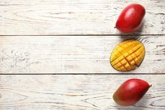 Flat lay composition with mango royalty free stock photo