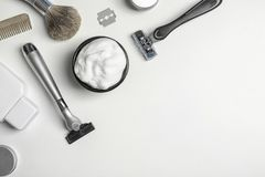 Flat lay composition with men`s shaving accessories and space for text royalty free stock images