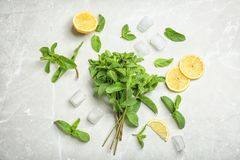 Flat lay composition with mint, citrus fruit and ice cubes. On light background Royalty Free Stock Images