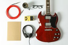 Flat lay composition with music accessories royalty free stock photography