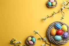 Flat lay composition with painted Easter eggs and blossoming branches on color background. Space for text royalty free stock photography