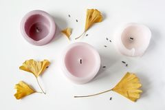Flat lay composition of pink candles, gingko leaves and lavender seeds. On white background stock image