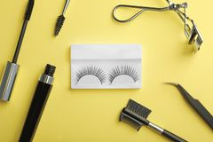 Flat lay composition of professional makeup tools and false eyelashes royalty free stock image