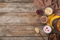 Flat lay composition with protein shakes and ingredients stock image
