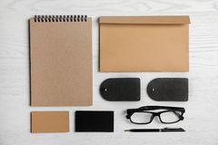 Flat lay composition with stationery royalty free stock photos