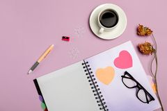 Flat lay composition with stationery on pink background. Mock up stock image