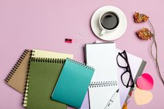 Flat lay composition with stationery on pink background. Mock up for design royalty free stock photos