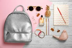Flat lay composition with stylish accessories. On color background stock image