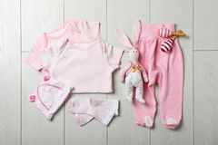 Flat lay composition with stylish baby clothes royalty free stock photos