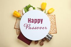 Flat lay composition of symbolic Pesach items on color background. Happy Passover stock images