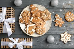 Flat lay composition with tasty homemade Christmas stock photos