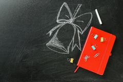 Flat lay composition for Teacher`s day. On chalkboard royalty free stock photo