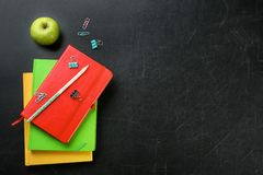 Flat lay composition for Teacher`s day. On chalkboard stock images