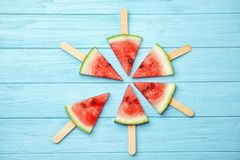 Flat lay composition with watermelon popsicles stock photo