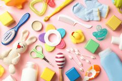 Free Flat Lay Composition With Baby Accessories Stock Image - 136213591