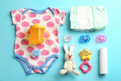 Free Flat Lay Composition With Baby Accessories Royalty Free Stock Images - 144787309