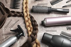 Free Flat Lay Composition With Hair Salon Tools Royalty Free Stock Photography - 126975997