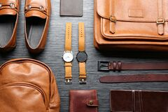 Free Flat Lay Composition With Leather Bags, Shoes And Accessories On Wooden Table Royalty Free Stock Image - 180265366