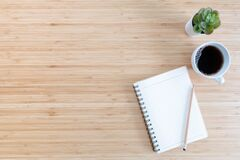 Free Flat Lay Composition With Notebook, Pen, Coffee, Plant On Wood Background Royalty Free Stock Photos - 214829958
