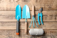 Free Flat Lay Composition With Professional Gardening Tools Royalty Free Stock Photos - 119190478