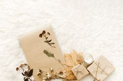 Flat lay composition with wrapped gift box. And autumn leaves Royalty Free Stock Photos