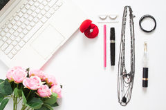 Flat lay of computer laptop with diamond ring Stock Photography