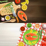 Flat Lay Cooking 2 Banners Set Stock Photography