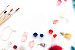 Flat Lay Creative Artist workspace. Watercolor and brushes on white background royalty free stock photo