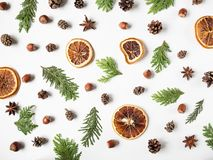 Free Flat Lay Creative Natural Background Of Parts Plants And Spices. Thuja, Cones, Dry Orange Slices, Spices On White Background. Top Royalty Free Stock Images - 164426039