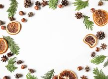 Free Flat Lay Creative Natural Frame Of Parts Plants, Nuts And Spices. Thuja, Cones, Dry Orange Slices, Spices On White Background. Top Stock Image - 164426061