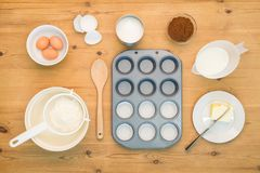 Flat lay Cup cake making ingredients. Stock Photos