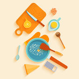 Flat lay design card with recipe of saffron risotto. Royalty Free Stock Image