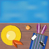 Flat lay design. Summer icons. Yellow hat, violet flip-flops, mo Royalty Free Stock Images