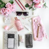 Girly flat lay with different accessories. Pink, rose, white, black. stock images