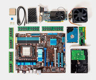 Flat lay of disassembled pc computer, laptop, concept of repair Royalty Free Stock Photography