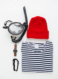 Flat lay of diving items Royalty Free Stock Photos