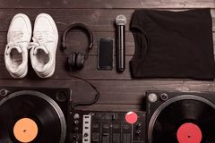 dj sound mixer, smartphone and headphones Royalty Free Stock Image