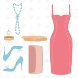 Flat lay of dress, shoes, clutch. Vector illustration of flat lay of dress, shoes, belt, jewellery. Made in retro style against heart background Stock Photography