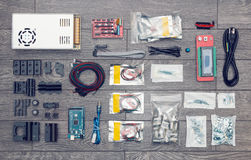 Flat lay of electronic and mechanical parts and components of DI Royalty Free Stock Images